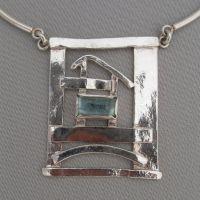 rectangular aquamarine necklace