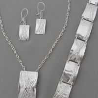 square link earrings, pendant and bracelet