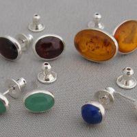 oval cabochon stud earrings