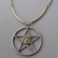 diamond pendant silver and gold